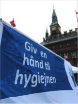 Rådhuspladsen i København lagde fliser til håndvaskeeventen i den første Hygiejneuge i 2009